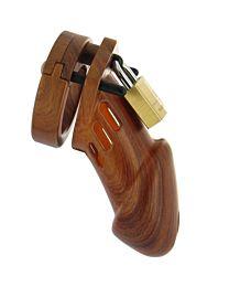 CB6000 Male Chastity Device Woodgrain 1