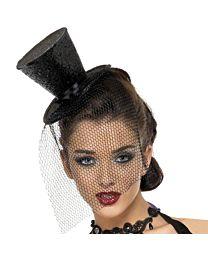 Burlesque Mini Top Hat Fascinator 1