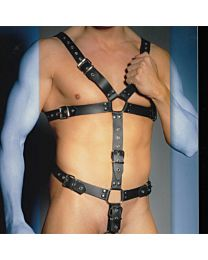 Zado Leather Body Harness with Cock Ring 1