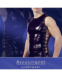 Svenjoyment Wet Look Muscle Shirt with Corset Lacing 1