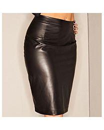 Noir Handmade High Waist Wet Look Skirt 1