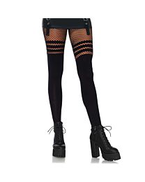 Leg Avenue Tights with Fishnet Stripes 1