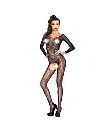 Passion Long Sleeved Floral Fishnet Bodystocking 1