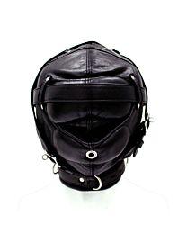 UberKinky Sensory Deprivation Leather Bondage Hood 1