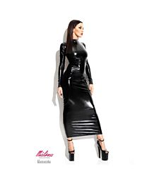 Demoniq Dorothea Long Wet Look Dress with Strappy Back 1