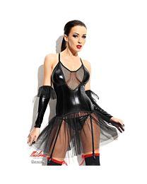 Demoniq Yvone Wet Look & Tulle Dress 1
