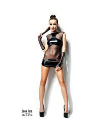 Demoniq Anette Wet Look & Mesh Mini Dress 1