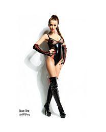 Demoniq Hannah Wet Look & Mesh Body with Bows 1