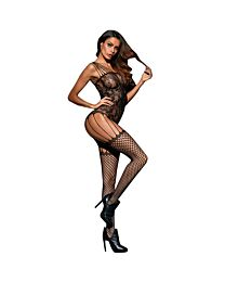 Seamless floral lace strappy suspender bodystocking 1
