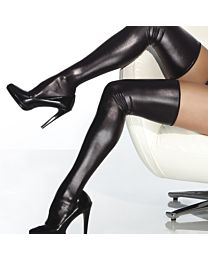 Coquette Darque Wet Look Thigh High Stockings 1