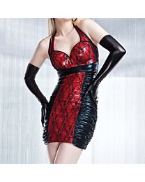 Coquette Darque Wet Look Red and Black Dress 1