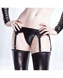 Coquette Darque Wet Look PVC Suspender Belt 1
