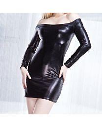 Coquette Darque Wet Look Off the Shoulder Dress 1