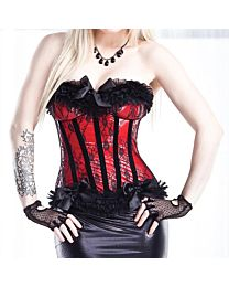 Coquette Darque Wet Look Red and Black Corset 1
