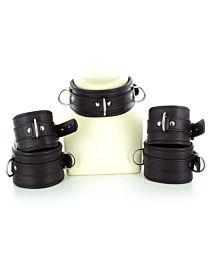 UberKinky Five Piece Locking Leather Restraints Set 1