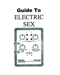 Folsom Electric Company Guide to Electro Sex 1