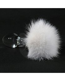 Crystal Delights White Bunny Tail Butt Plug 1