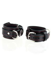 House of Eros Black Leather Wrist Cuffs with Red Stitch Detail 1