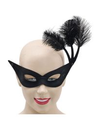 Black Flyaway Mask With Feathers 1