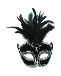 Black Velvet Mask With Tall Feathers 1