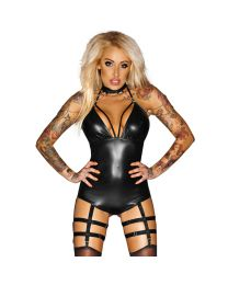 Noir Handmade Immoral Outrageous Wet Look Body with Suspenders 1