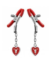 Master Series Captive Heart Padlock Nipple Clamps 1