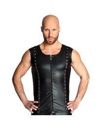 Noir Handmade Mens Wet Look Vest Top with Zip Black 1