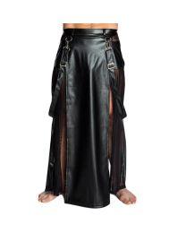 Noir Handmade Mens Faux Leather & Tulle Long Skirt 1