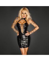 Noir Handmade PVC Mini Dress with Lacing 1