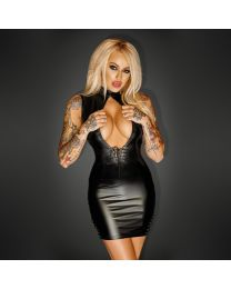 Noir Handmade Power Wetlook Mini Dress with Lacing 1