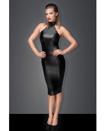 Muse Powerwetlook Pencil Dress with Ring on Collar and Zipper 1