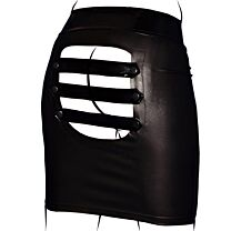 Noir Handmade Wet Look Skirt with Open Back and PVC Details 1