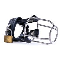 Uberkinky Black Leather Stallion Guard Cage 1