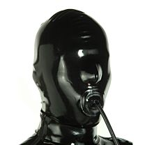 Mask With Inflatable Internal Penis-Gag, Back Zipper 1