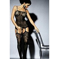 Black intimate lace detail bodystocking 1