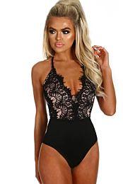 Black Eyelash Lace Allure High Waisted Bodysuit 1