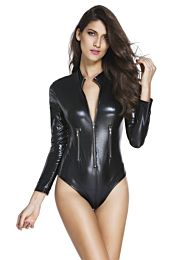 Black Leathery Long Sleeve Zip Detail Bodysuit 1