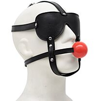 UberKinky Ball Gag Leather Head Harness with Padded Blindfold 1