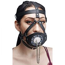 Master Series Plug Your Hole Open Mouth Leather Head Harness 1