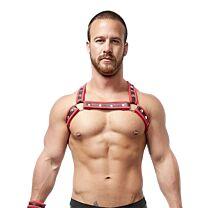 Mister B Neoprene X Back Harness Black Red 1