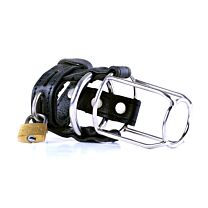 Black Leather Stallion Guard Cage 1 RING 1