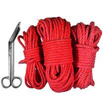 Uberkinky Red Cotton Bondage Rope Bundle (5m, 10m & 20m) 1