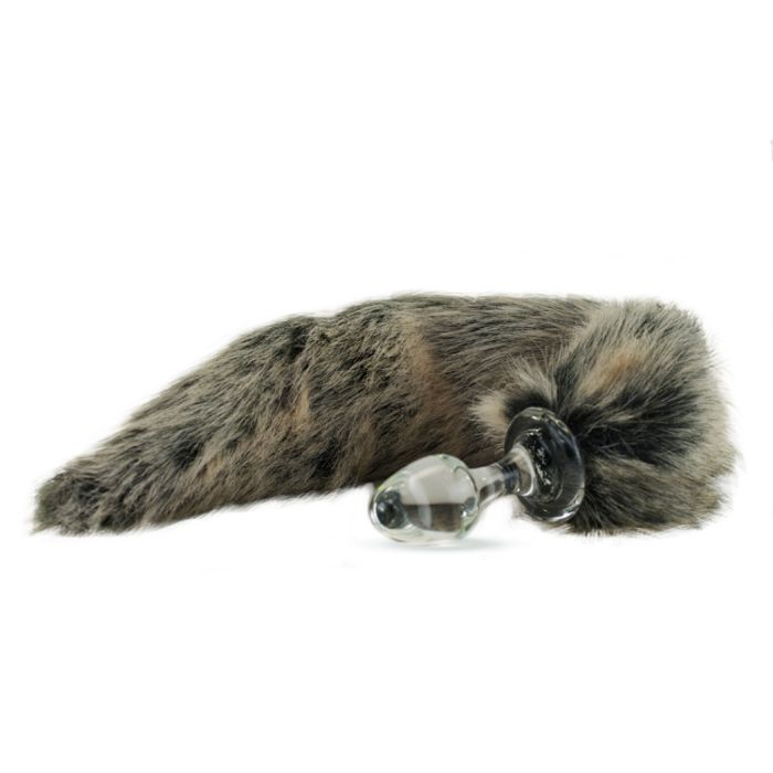 c602e72831a Crystal Delights Faux Fur Minx Tail Butt Plug Grey Wolf 2.7 Inches ...
