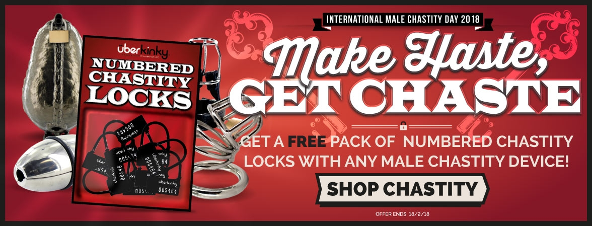 Buy Any Male Chastity Device And Receive A Free Pack Of UberKinky Numbered Chastity Locks