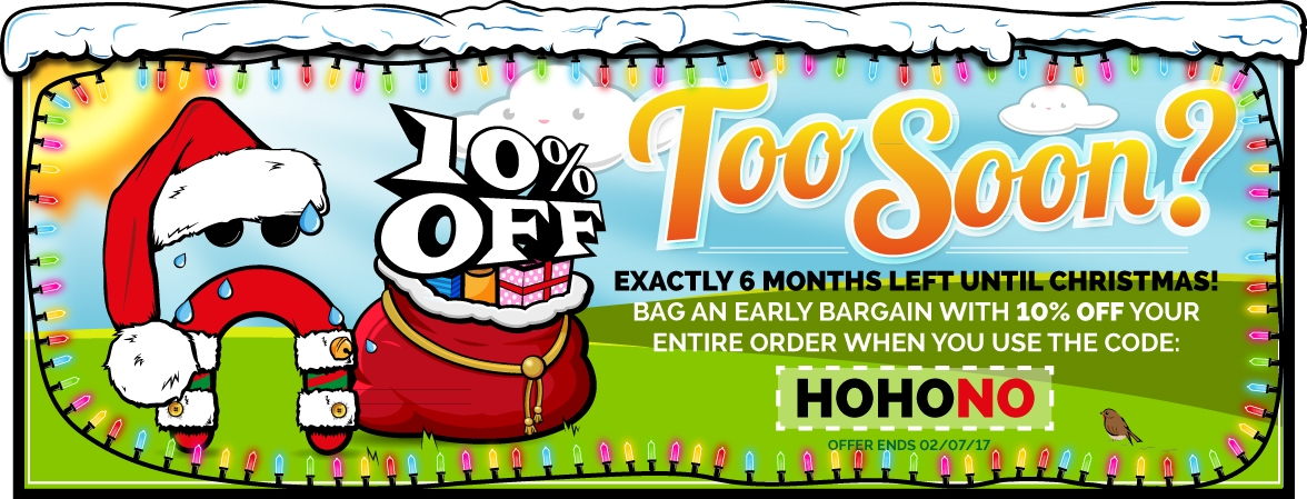 There's only 6 months left till Christmas! Better get your Christmas Shopping in now! Save 10% off your shop with the discount code HOHONO